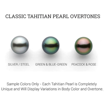 18-Inch Black Tahitian Round Pearl on Leather, Sterling Silver