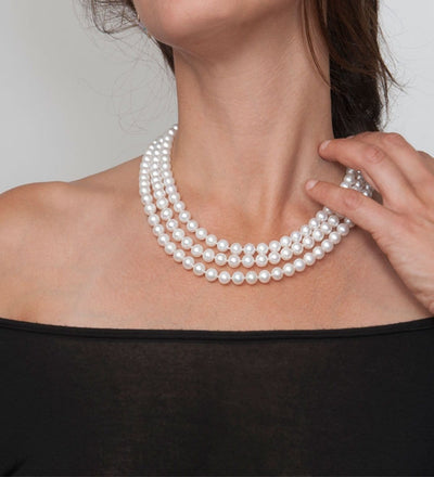 White Freshwater 17/18/19-Inch Triple Strand Pearl Necklace, 7.5-8.0mm