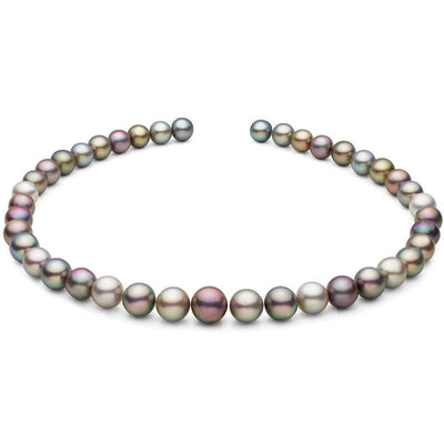 Extremely Rare Multi-Colored Round Sea of Cortez Pearl Necklace, 18-Inches, AAA Quality, 14K Gold