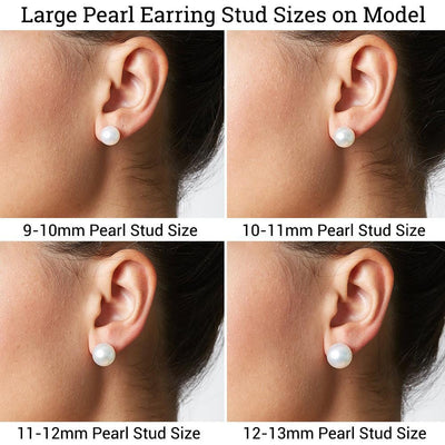 Large Pearl Stud Earring Sizes as Shown on Model