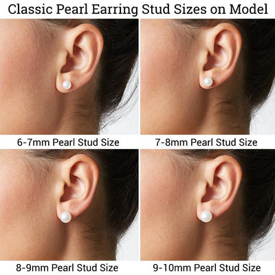 Classic Pearl Stud Earring Sizes as Shown on Model