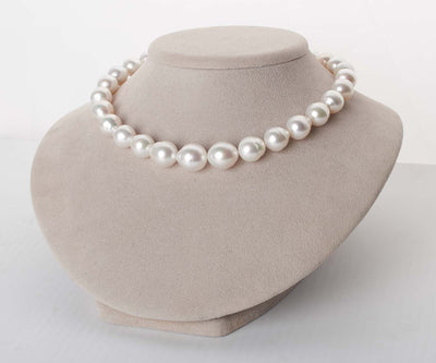 Silver-Rose White South Sea Drop-Shape Pearl Necklace, 18-Inch, 12.3-15.6mm, AA+/AAA Quality