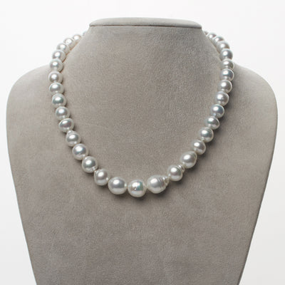 Bright Silvery Blue White South Sea Baroque Pearl Necklace, 18-Inch, 8.0-11.6mm, AA+/AAA Quality