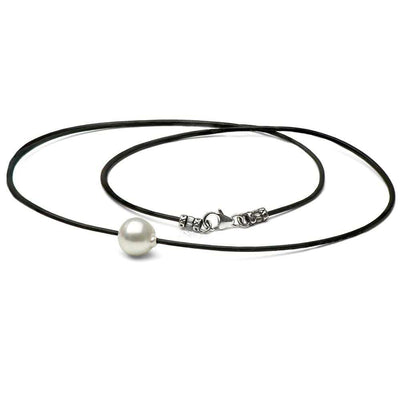 White South Sea Baroque Pearl on Leather Neckpiece, Sizes: 11.0-12.0mm