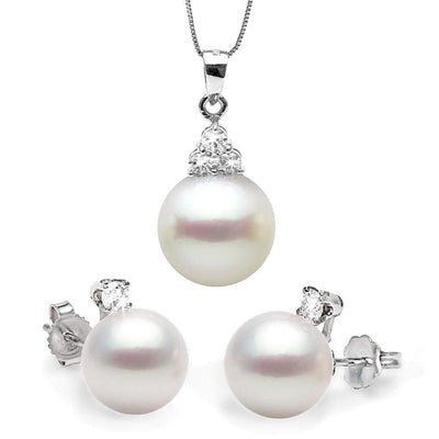 White South Sea Pearl Diamond Delight Pendant and Earring Set, Sizes: 11.0-12.0mm
