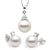 White South Sea Pearl Diamond Delight Pendant and Earring Set, Sizes: 10.0-13.0mm, 14K Gold