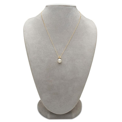 White South Sea Pearl and Diamond Elsa Pendant, Sizes: 10.0-14.0mm on Necklace Bust