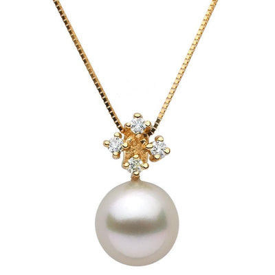 White South Sea Pearl and Diamond Elsa Pendant, Sizes: 10.0-14.0mm, 14K Yellow Gold