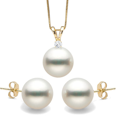 White South Sea Stud Pearl and Diamond Radiance Pendant and Stud Earring Set