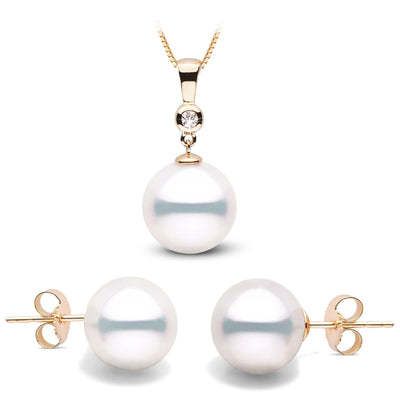 White South Sea Pearl and Diamond Bezel Pendant and Stud Earring Set