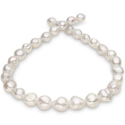 Strong Silver White South Sea Free-Form Baroque Pearl Necklace, 18-Inch, 10.0-13.2mm, AA+ Quality