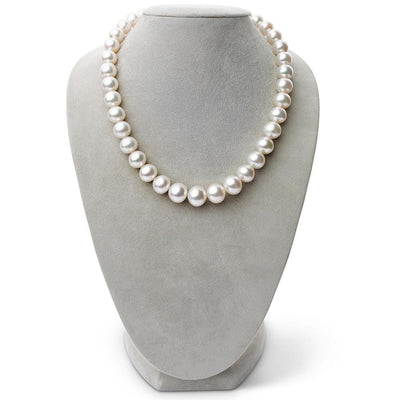 Bright Silver-Rose White South Sea Near-True Round Pearl Necklace, 18-Inch, 11.11-14.03mm, AA+/AAA Quality