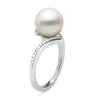 White South Sea Pearl and Diamond Bliss Ring, Sizes: 10.0-11.0mm, 14K White Gold Version