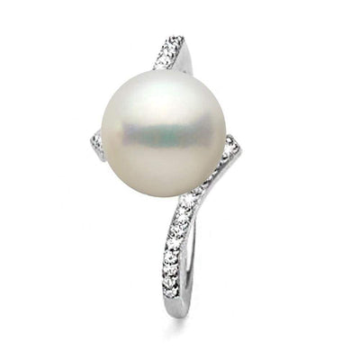 White South Sea Pearl and Diamond Bliss Ring, Sizes: 10.0-11.0mm, 14K White Gold (Top View)