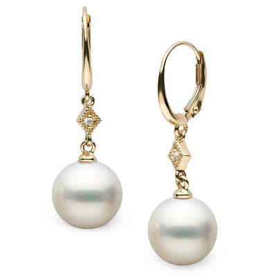 White South Sea Pearl and Diamond Aerie Collection Dangle Earrings, Sizes: 9.0-12.0mm, 14K Yellow Gold