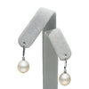 White South Sea Drop-Shape Pearl Dangle Earrings, Sizes: 9.0-12.0mm, As Shown on Earring Tree