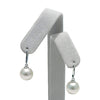 White South Sea Pearl Dangle Earrings, Sizes: 9.0-14.0mm, Shown on Earring Tree