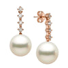 White South Sea Pearl and Diamond Constellation Earrings, Sizes: 10.0-13.0mm, 14K Rose Gold