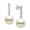 White South Sea Pearl and Diamond Constellation Earrings, Sizes: 10.0-13.0mm, 14K White Gold