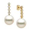 White South Sea Pearl and Diamond Constellation Earrings, Sizes: 10.0-13.0mm, 14K Yellow Gold