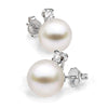 White South Sea Pearl and Diamond Glimmer Earrings, Sizes 9.0-13.0mm, 14K White Gold