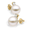 White South Sea Pearl and Diamond Glimmer Earrings, Sizes 9.0-13.0mm, 14K Yellow Gold