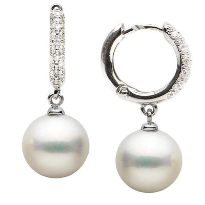 Large White South Sea Pearl and Diamond Hoop Earrings, Sizes: 9.0-13.0mm, 14K White Gold