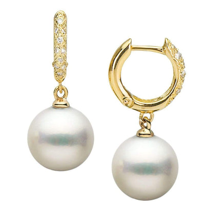 Large White South Sea Pearl and Diamond Hoop Earrings, Sizes: 9.0-13.0mm, 14K Yellow Gold