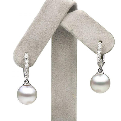 Large White South Sea Pearl and Diamond Hoop Earrings, Sizes: 9.0-13.0mm, 14K White Gold on Earring Tree