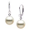 White South Sea Pearl and Diamond Leverback Dangle Earrings, Sizes: 9.0-12.0mm, 14K White Gold