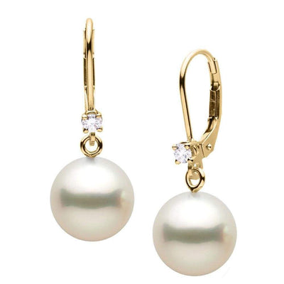 White South Sea Pearl and Diamond Leverback Dangle Earrings, Sizes: 9.0-12.0mm, 14K Yellow Gold