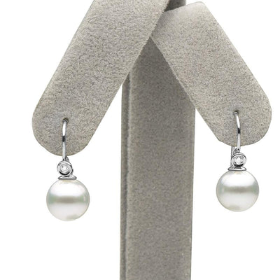 White South Sea Pearl and Diamond Shepherd Hook Earrings as Shown on Earring Tree