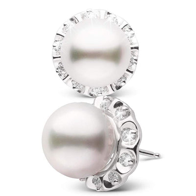 White South Sea Pearl and Diamond Tudor Stud Earrings, 10.0-11.0mm, 14K White Gold Version