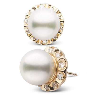 White South Sea Pearl and Diamond Tudor Stud Earrings, 10.0-11.0mm, 14K Rose Gold Version