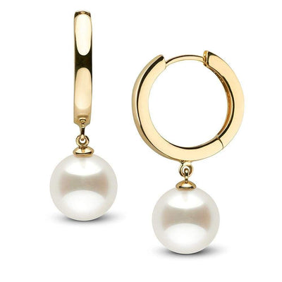 White South Sea Pearl High-Polish Huggie Hoop Earrings, Sizes: 9.0-13.0mm,14K Yellow Gold
