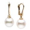 White South Sea Drop-Shape Pearl Dangle Earrings, Sizes: 9.0-12.0mm, 14K Yellow Gold