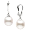 White South Sea Drop-Shape Pearl Dangle Earrings, Sizes: 9.0-12.0mm,  14K White Gold