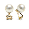 White South Sea Pearl Clip-On Earrings, Sizes: 9.0-14.0mm, 14K Yellow Gold