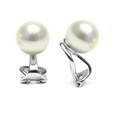White South Sea Pearl Clip-On Earrings, Sizes: 9.0-14.0mm, 14K White Gold