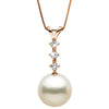 White South Sea Pearl and Diamond Constellation Pendant, Sizes: 10.0-13.0mm, 14K Rose Gold