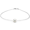 White South Sea Pearl Solitaire Fixed Omega Necklace, Sizes: 11.0mm-15.0mm