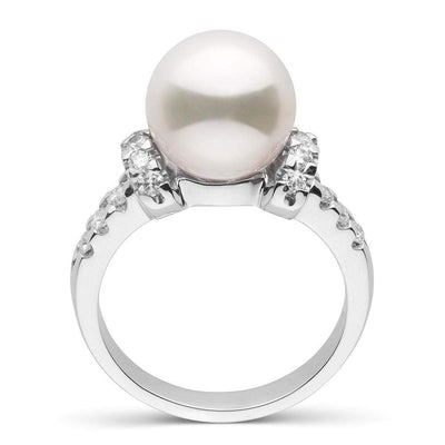 White South Sea Pearl and Diamond Bloom Ring, 9.0-10.0mm, Sterling Silver or 14K White Gold