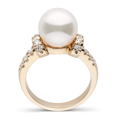 White South Sea Pearl and Diamond Bloom Ring, 9.0-10.0mm, 14K Yellow Gold