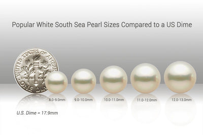 Popular White South Sea Pearl Sizes vs US Dime