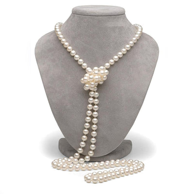 White Freshwater Pearl Rope 52-Inches, 7.5-8.0mm