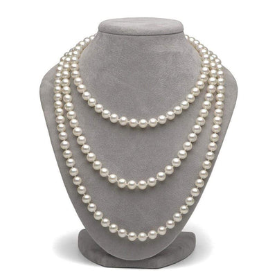 White Freshwater Pearl Endless Rope 100-Inches, 8.5-9.5mm on Necklace Bust
