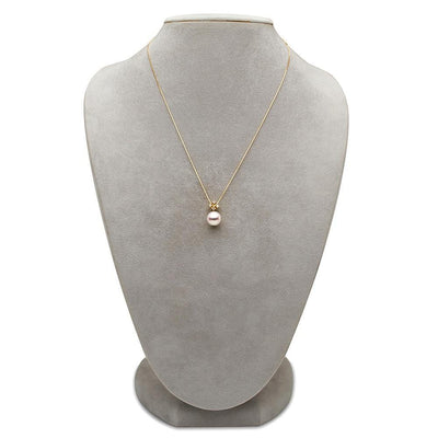 White Akoya Pearl and Diamond Elsa Pendant on Necklace Bust