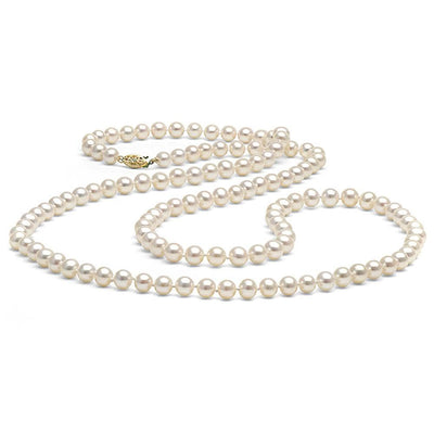 White Freshwater Opera Length Pearl Necklace, 6.5-7.0mm, 14K Yellow Gold