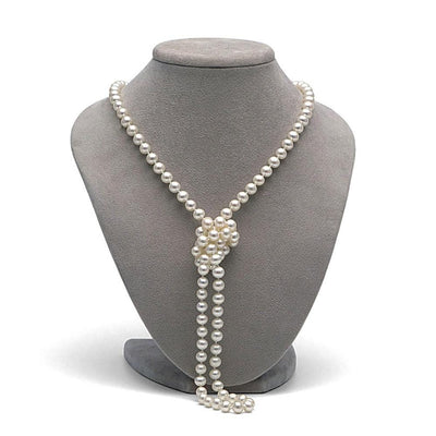 White Freshwater Opera Length Pearl Necklace, 6.5-7.0mm on Necklace Bust