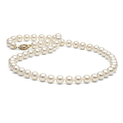 White Freshwater Pearl Necklace, 6.5-7.0mm, 14K Yellow Gold